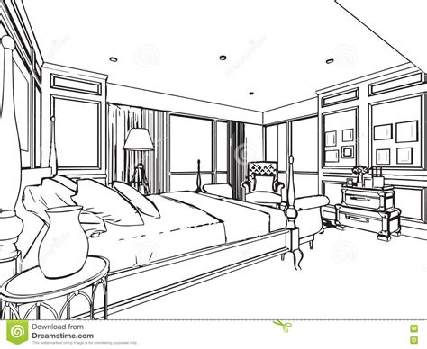 How To Draw Interior Perspective From Plan by Outline Sketch Drawing Interior Perspective Of House Stock