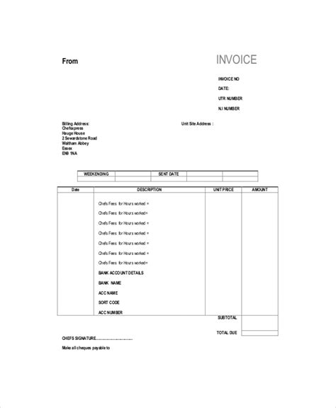invoice template self employed self employed invoice template 11 free word excel pdf