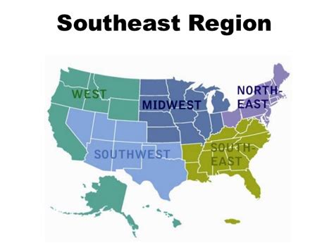 united states map south east west southeast region powerpoint presentation