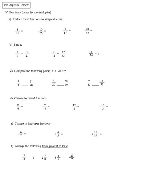 Prealgebra Worksheets by Math Plane Pre Algebra Review 1