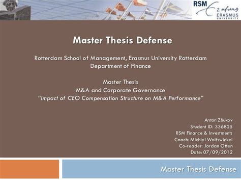 Corporate Governance Mba Thesis by Impact Of Ceo Compensation Structure On M A Performance