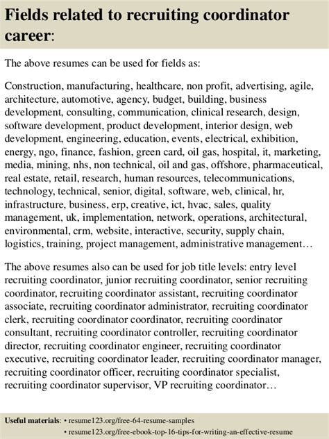 Recruiting Coordinator Resume by Top 8 Recruiting Coordinator Resume Sles