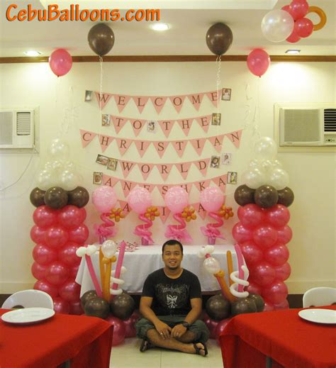 Simple christening balloon centerpiece pink amp brown cebu balloons and party supplies