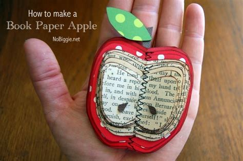 Book Paper Crafts - how to make a book paper apple