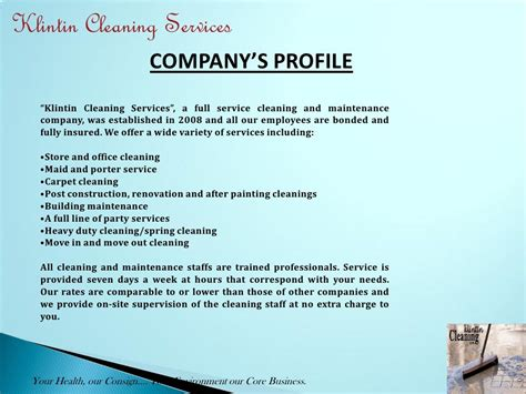 cover letter electrical company profile format klintin cleaning services company s profile klintin