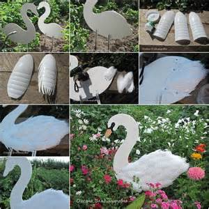 how to diy swan garden decor from plastic bottles