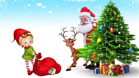 santa claus with tree images postcard santa claus deer tree with gifts hd desktop backgrounds free
