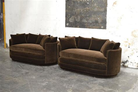 Curved Sofas And Loveseats Pair Of Vintage Curved Loveseat Sofas In Chocolate Brown