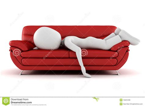 on the sofa 3d man tired sleeping on the couch royalty free stock
