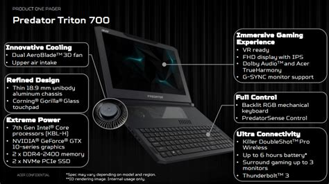 Laptop Acer Triton 700 acer next 2017 acer บ กตลาดเกมม งโน ตบ คจ ดส ง