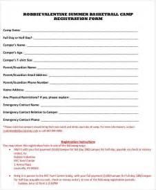summer camp registration form template best template idea