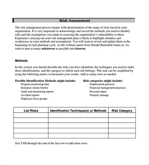 exle of a risk management plan template sle management plan template 13 documents in