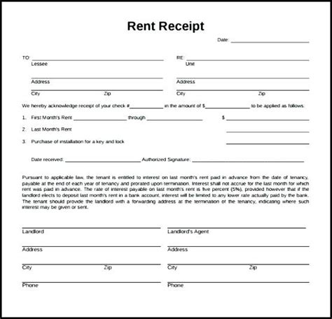 landlord rent receipt template ontario landlord receipt template rental receipt form rent receipt