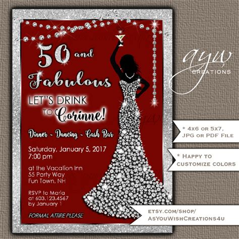 exle of 50th birthday invitation 50th birthday invitations bling dress fifty
