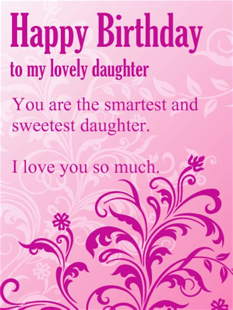printable happy birthday cards for daughter to my lovely daughter purple flower birthday card when