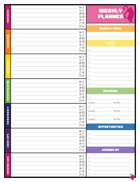 printable planner pages free colorful planner pages best loving printable