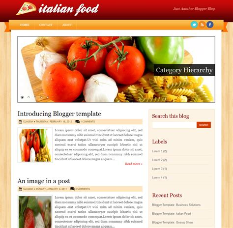 ipod touch and iphone template italian food blogger theme