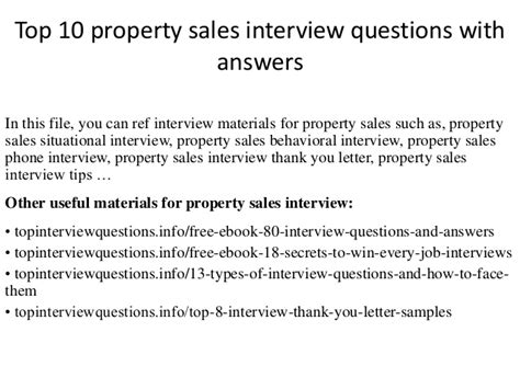 top 10 property sales questions with answers