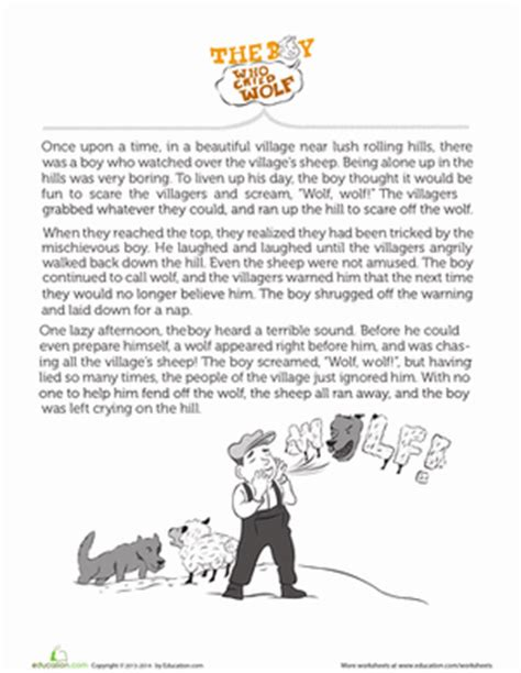 printable version of the boy who cried wolf the boy who cried wolf worksheet education com