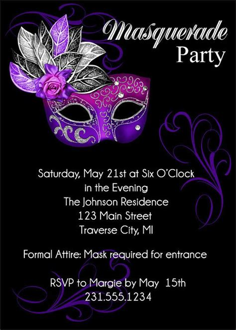 Masquerade Themed Invitation Templates 25 best ideas about masquerade invitations on
