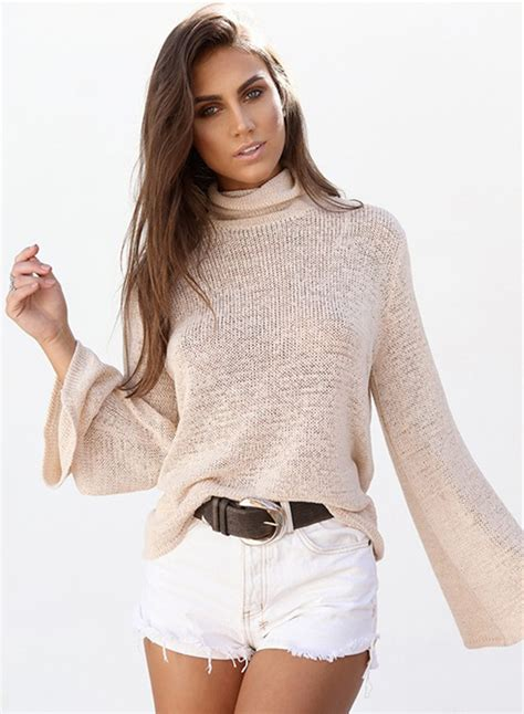 High Neck Knit Sweater s solid high neck back lace up knit sweater