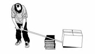 Here is a boy using a bar as a class 1 lever to lift a box image from