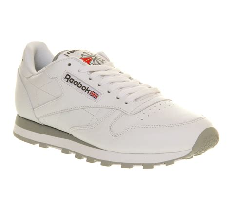 mens reebok classic leather white leather trainers shoes