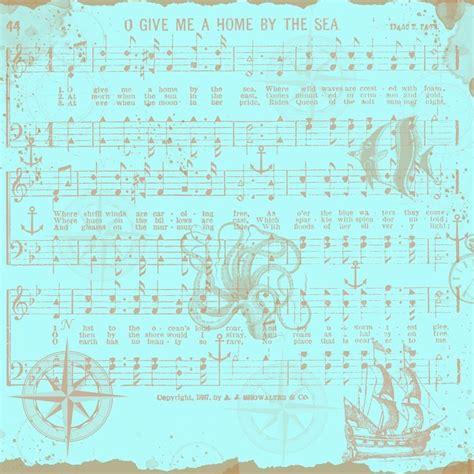 nautical music free digital scrapbook paper blue nautical music notes