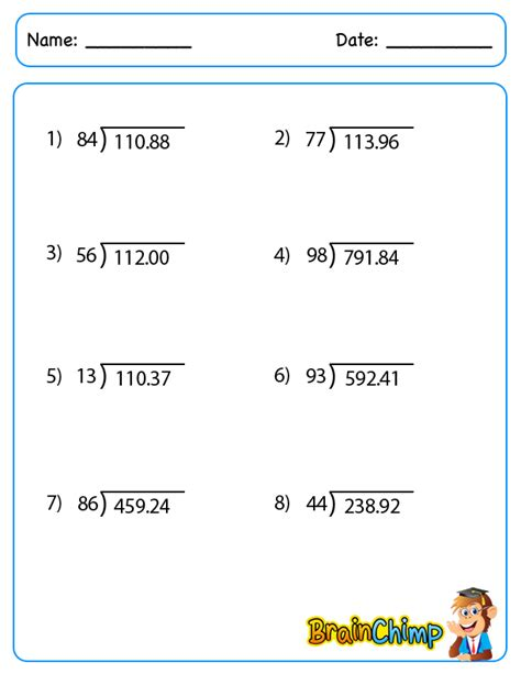 printable math worksheets on dividing decimals division worksheets decimal remainders decimal