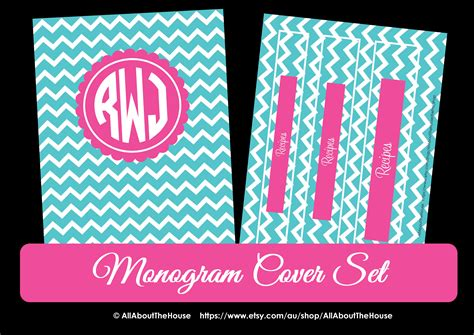 printable binder covers monogram https www etsy com au listing 161158784 monogram