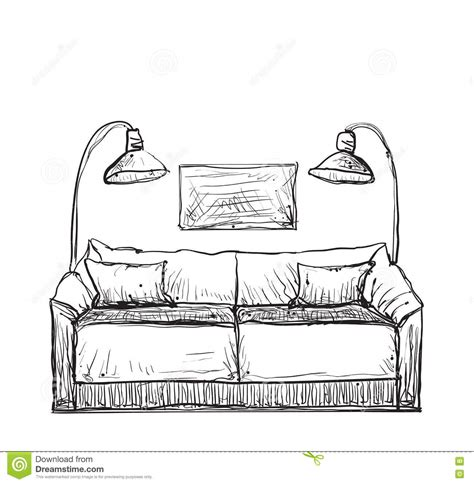 drawn couch hand drawn sofa sketch stock vector image of cushion