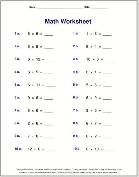 Multiplication Worksheets Grade 6 by 6 Tables Khafre