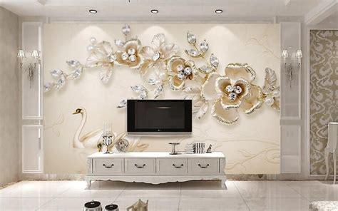 wallpaper for room walls pakistan price 3d size customized jewelry diamond flower yellow golden