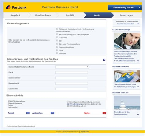 post bank kredit postbank business kredit direkt test und