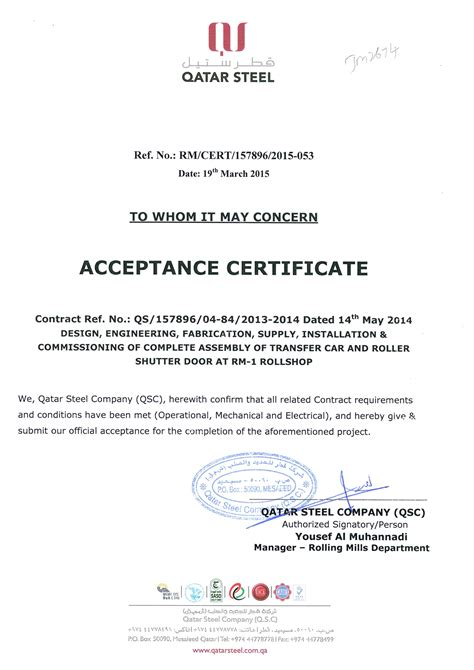 sle of certificate of completion and acceptance
