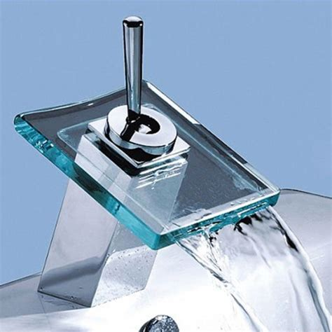 glass bathroom faucets best selling single handle mount glass waterfall cold and