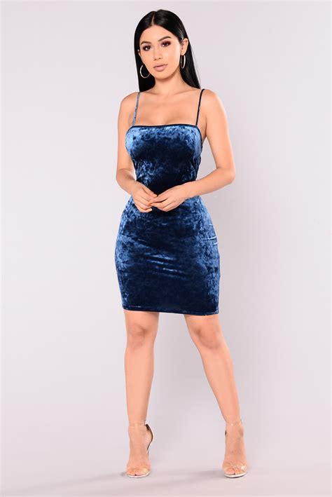 Dress Model Blue Fashion Impor samara velvet dress blue