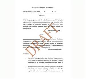 hotel contract template hotel management agreement contract sle contracts