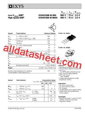 transistor igbt datasheet ixgh40n60 datasheet pdf ixys corporation