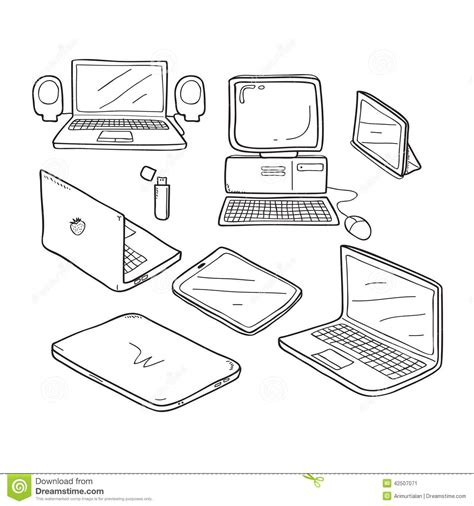 how to make doodle in computer computer doodle drawing stock illustration image of icons