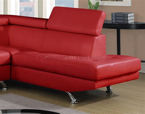 red bonded leather sofa u9782 sectional sofa in red bonded leather by global