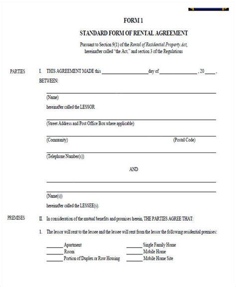 sle standard lease agreement sle blank rental agreement 9 28 images sle blank