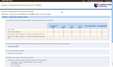 Online Questionnaire Tool - links research staff lboro