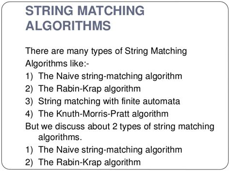 types of pattern matching algorithm string matching algorithms