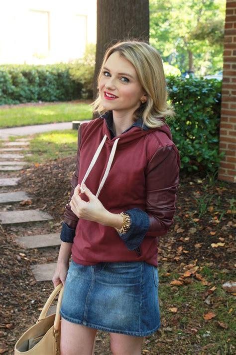 leather hoodie  denim skirt country girls jcrew  blog