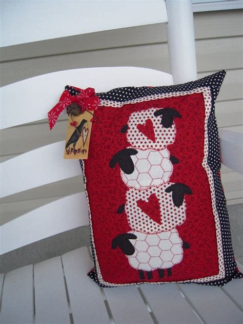 Primitive Pillows by Primitive Pillows Primitive Decor Prim Sheep Quilted