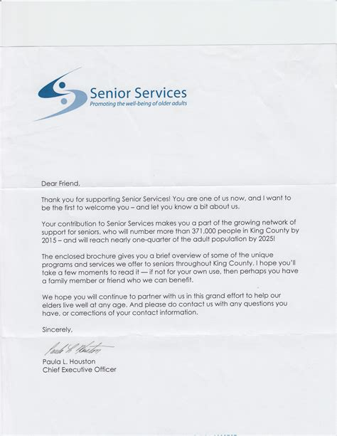 Sle Fundraising Letter United Way what s in my mailbox senior services new donor welcome