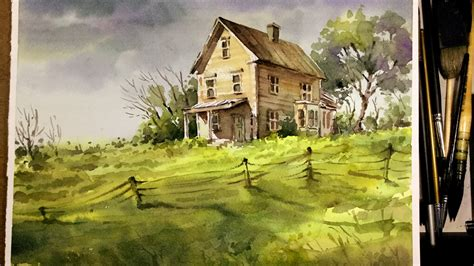 house painting art watercolor landscape painting old little house in the