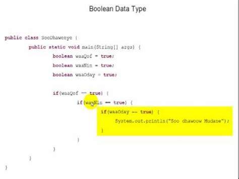 Remove Info From True Search Java Boolean Data Types In Somali False Vs True Part 2