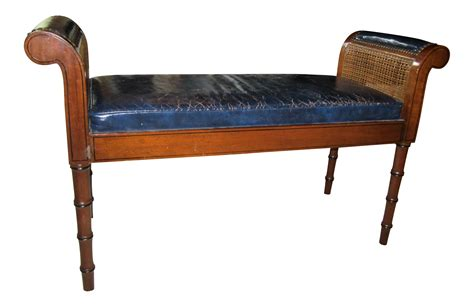 blue leather bench traditional style navy blue leather bench chairish